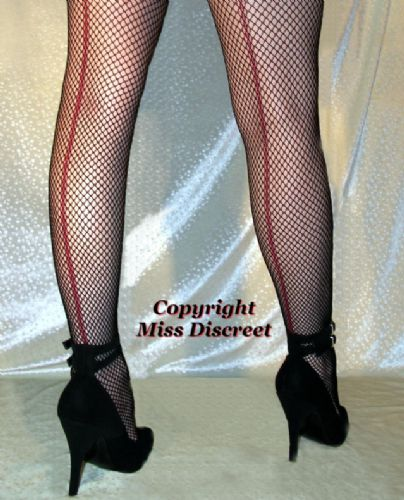 Sexy Black Fishnet Tights with Red Seams